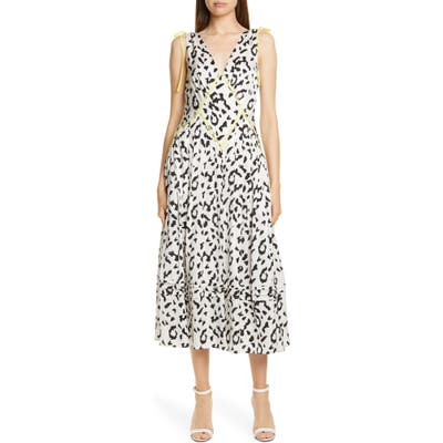 Self-Portrait Leopard Print Fit & Flare Midi Dress, Ivory