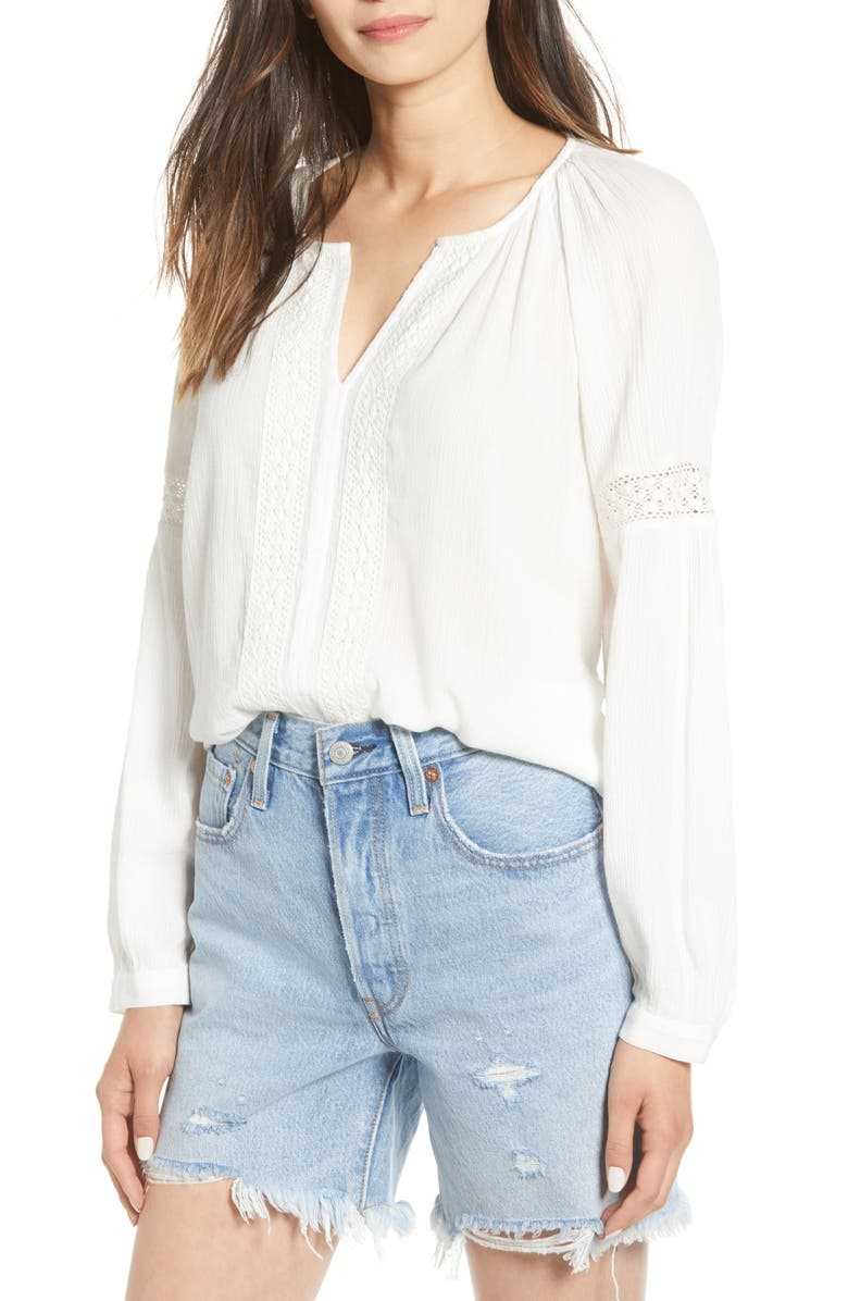 HINGE Embroidered Blouse, Main, color, IVORY CLOUD
