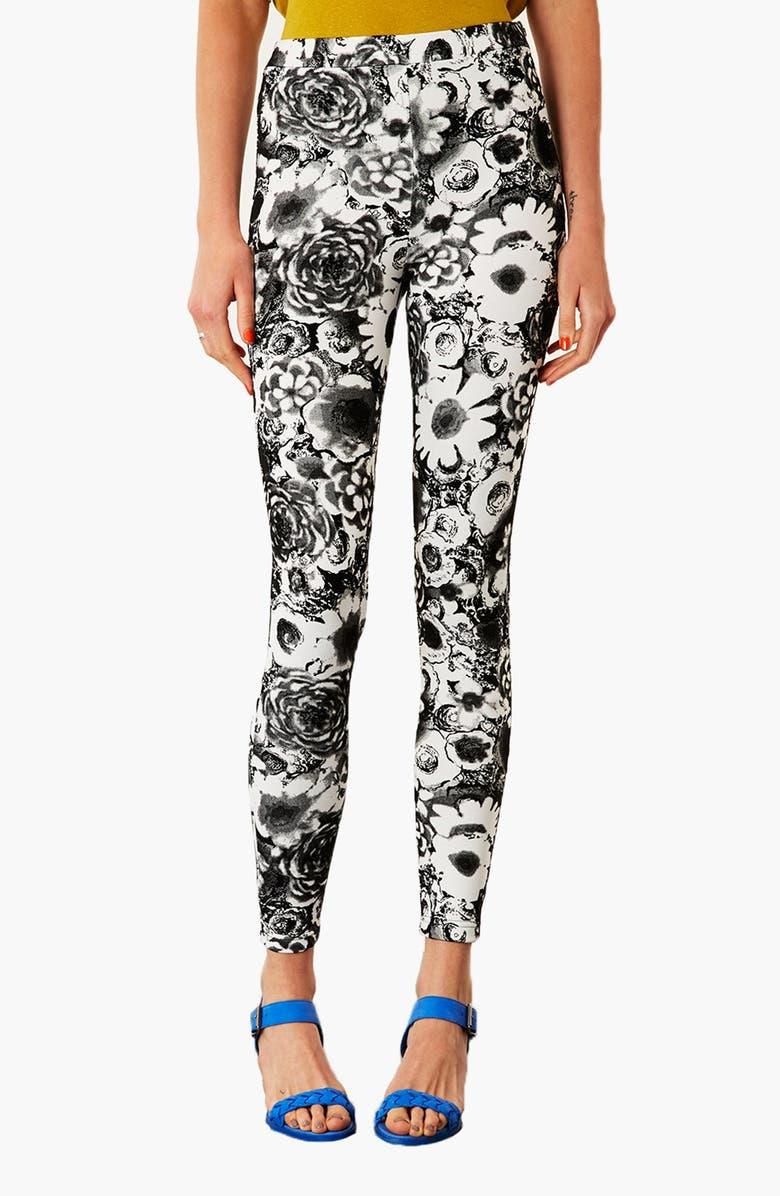 TOPSHOP Dark Floral Leggings, Main, color, 100