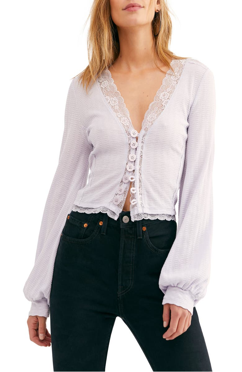 FREE PEOPLE Run With Me Cardigan, Main, color, LILAC