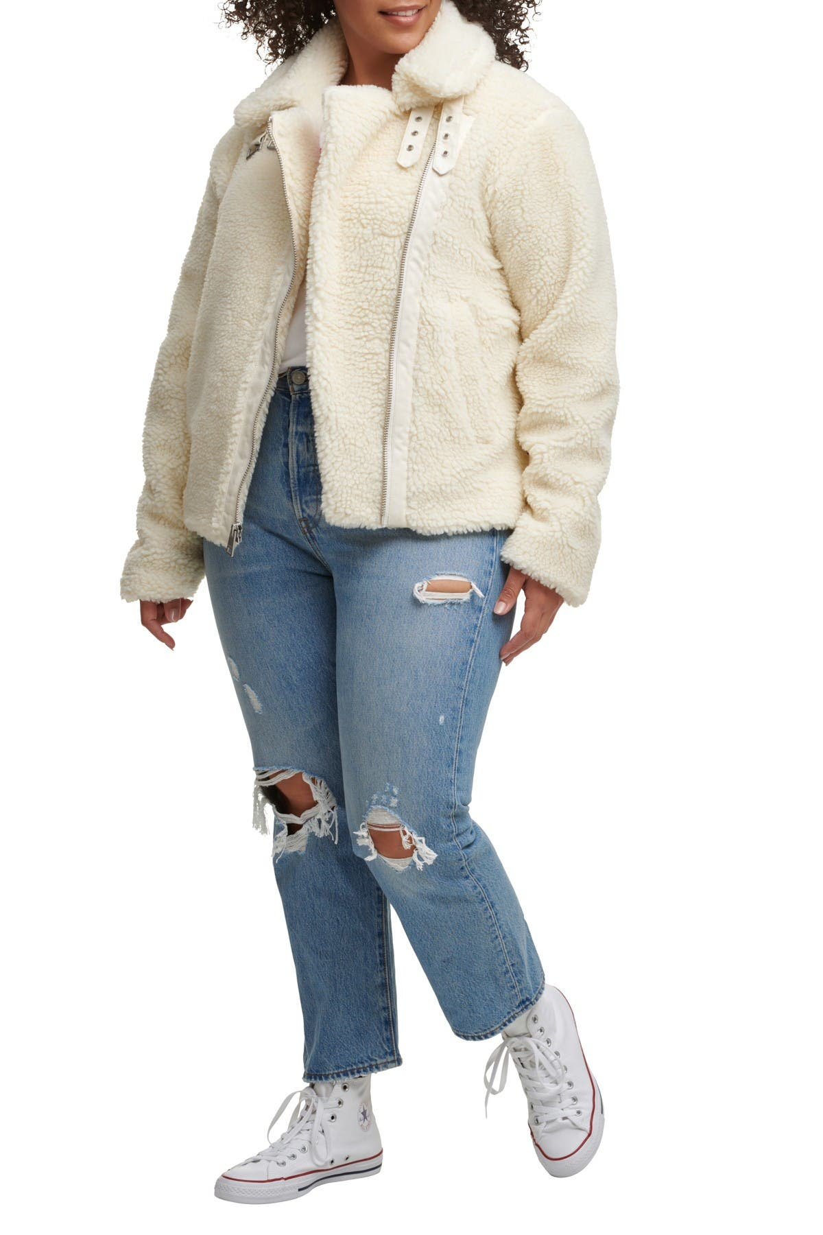 Image of Levi's All Over Faux Shearling Asymmetrical Motorcycle Jacket