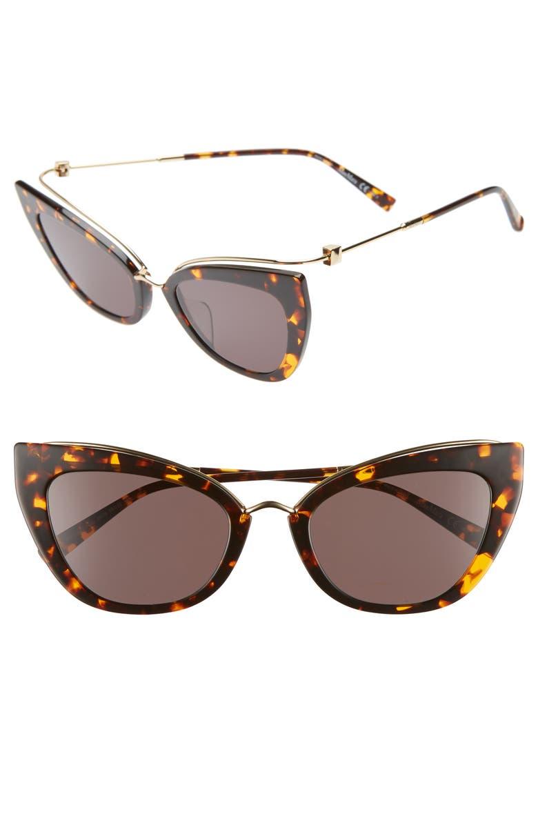 MAX MARA Marilyn 53mm Cat Eye Sunglasses, Main, color, HAVANA GOLD