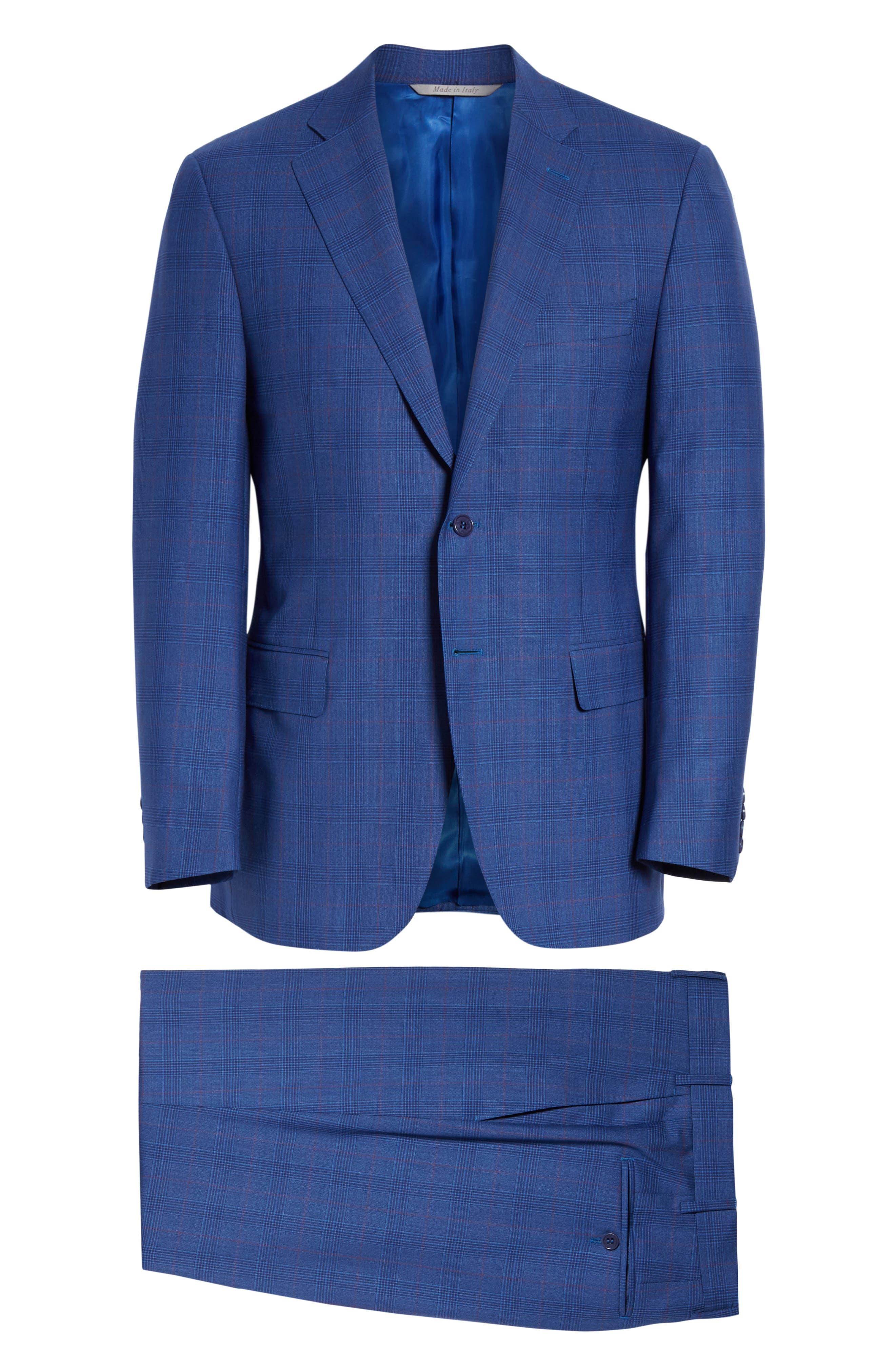 ,                             Siena Classic Fit Deco Plaid Super 130s Wool Suit,                             Alternate thumbnail 8, color,                             BLUE