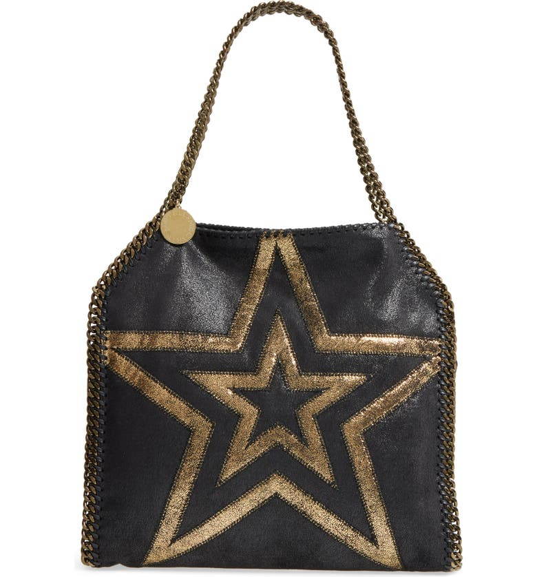STELLA MCCARTNEY Small Falabella Shaggy Deer Star Faux Leather Tote, Main, color, 001