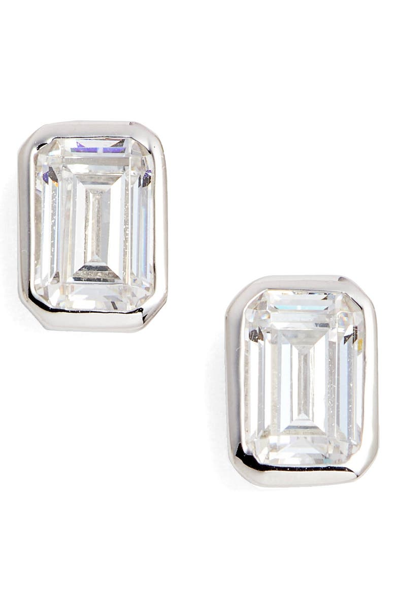 LAFONN Bezel-Set Emerald Cut Stud Earrings, Main, color, SILVER/ CLEAR
