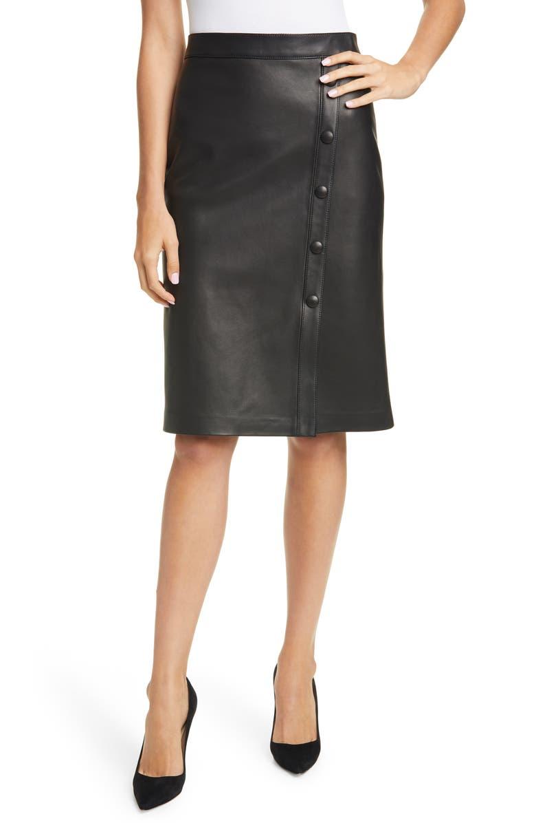 NORDSTROM SIGNATURE Nordstom Signature Button Detail Leather Skirt, Main, color, BLACK
