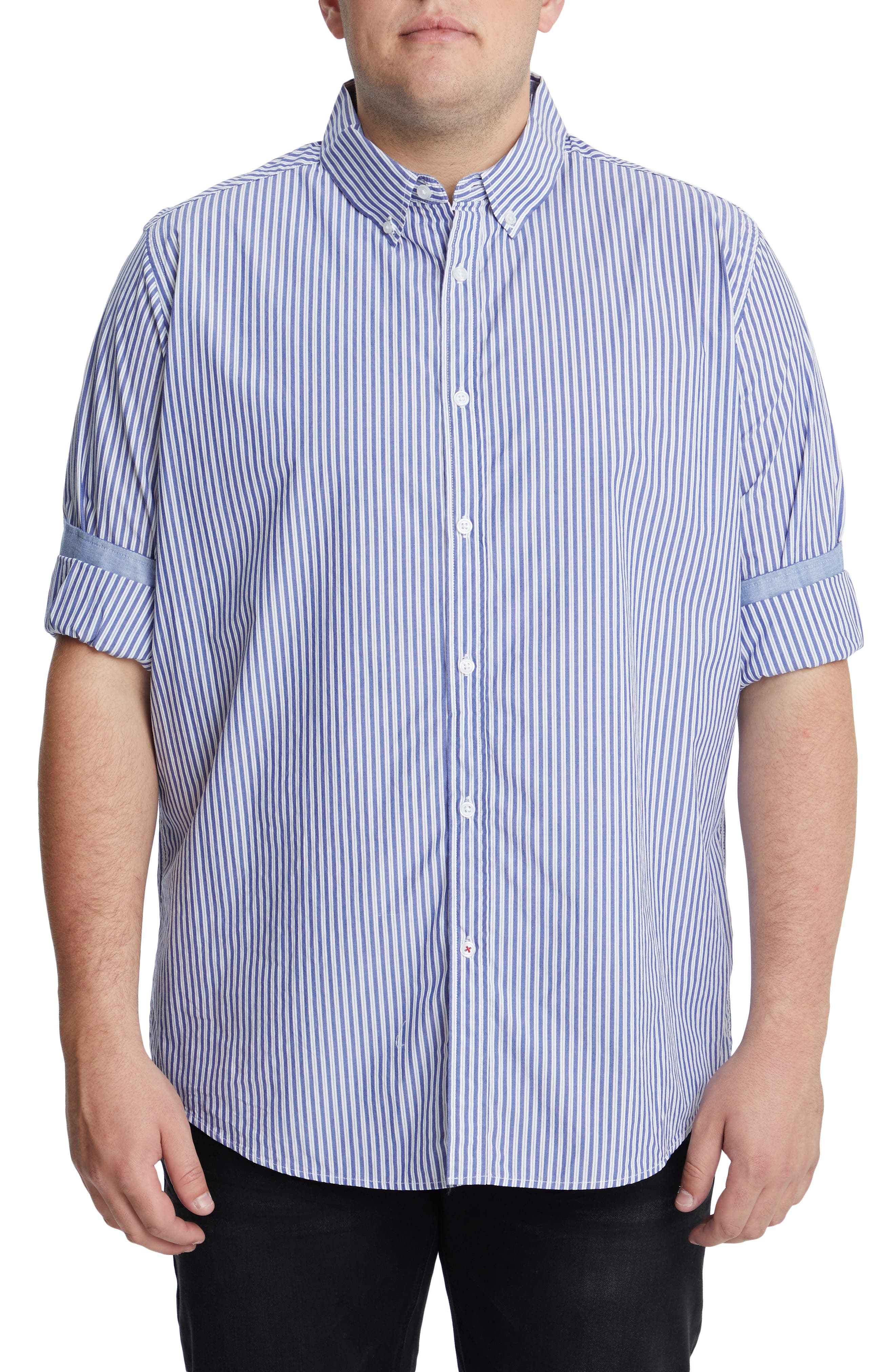 Men's Big & Tall Johnny Bigg Forrest Stretch Stripe Button-Down Shirt