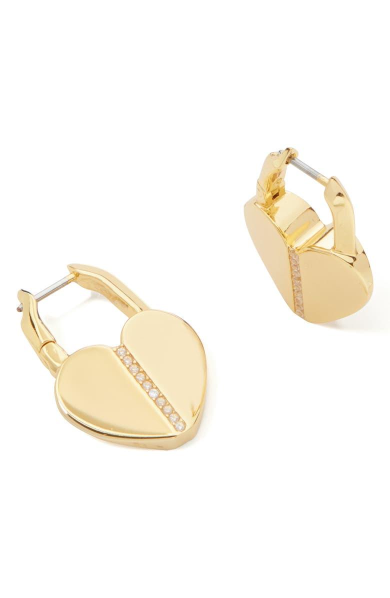 KATE SPADE NEW YORK spade lock pavé hoop earrings, Main, color, CLEAR/ GOLD