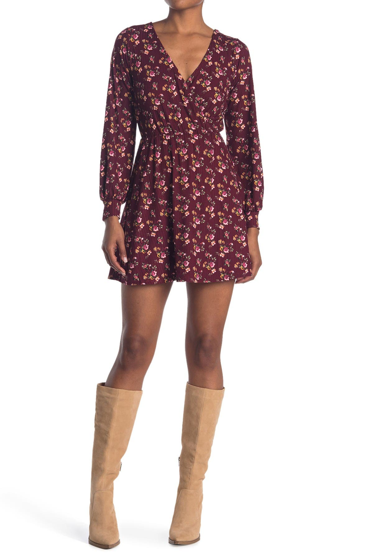 Image of KENEDIK Ditsy Surplice Long Sleeve Rib Knit Dress