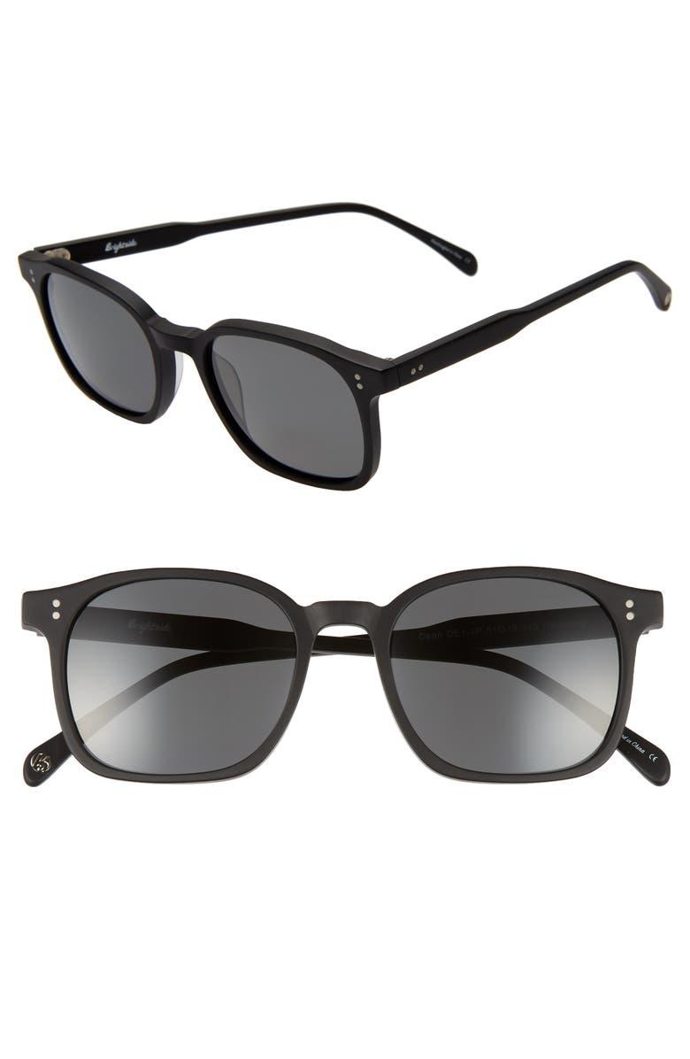 BRIGHTSIDE Dean 51mm Polarized Square Sunglasses, Main, color, MATTE BLACK/ GREY
