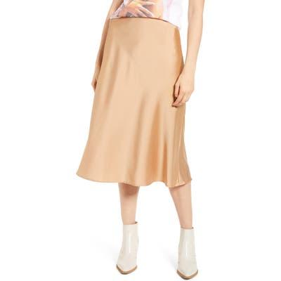 All In Favor Satin Midi Skirt, Beige