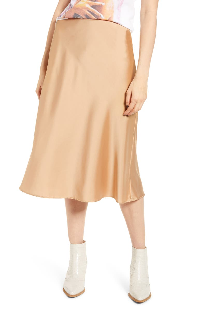 Satin Midi Skirt by All In Favor
