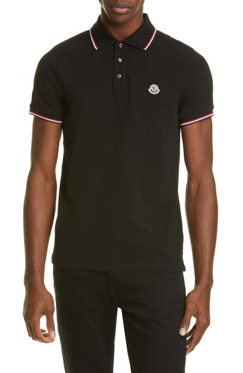 MONCLER Tipped Solid Short Sleeve Piqué Polo, Main, color, BLACK