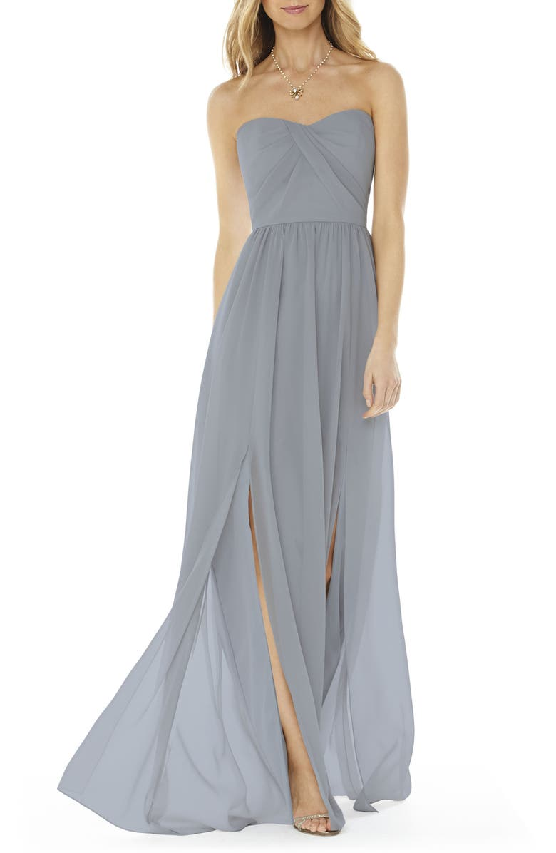 SOCIAL BRIDESMAIDS Strapless Georgette Gown, Main, color, PLATINUM