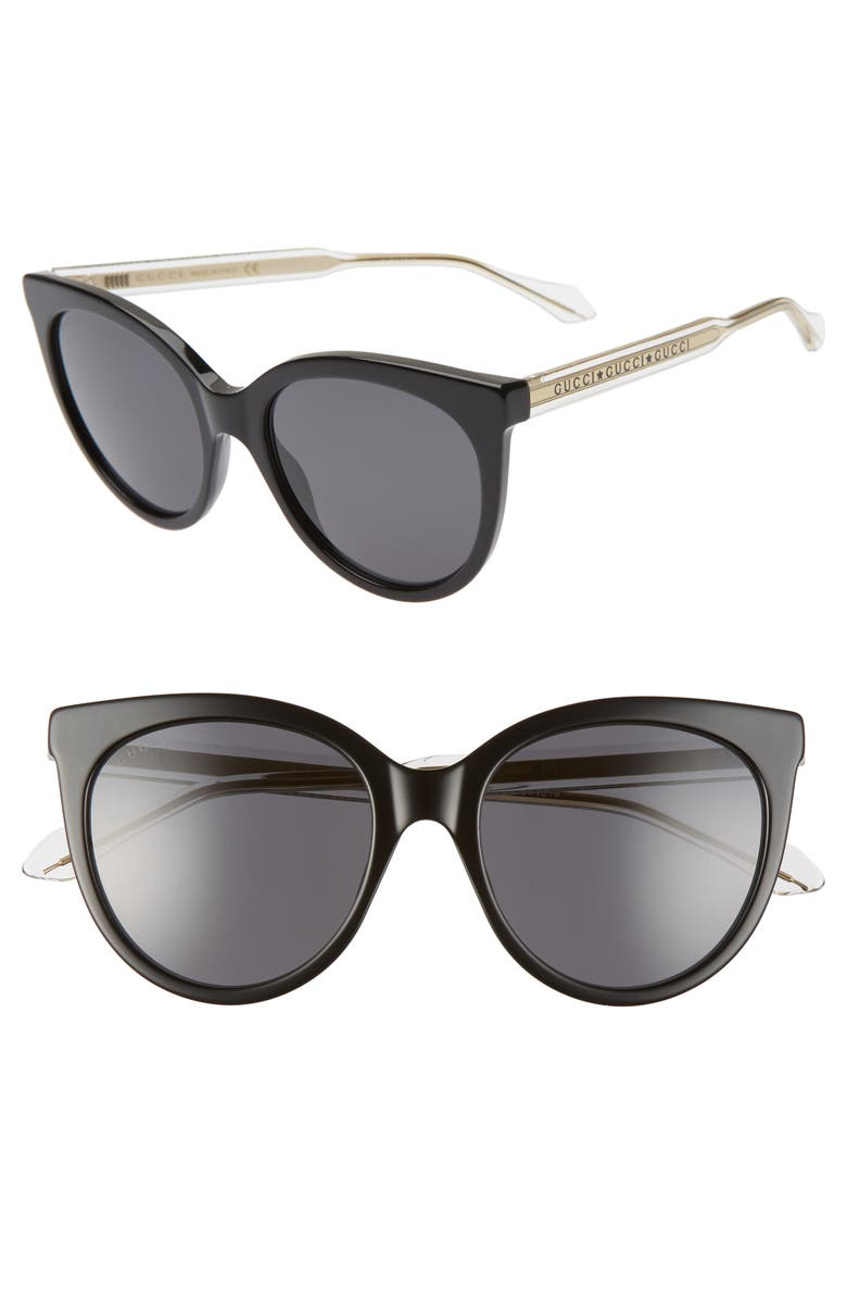 GUCCI 54mm Cat Eye Sunglasses, Main, color, BLACK/ GREY SOLID