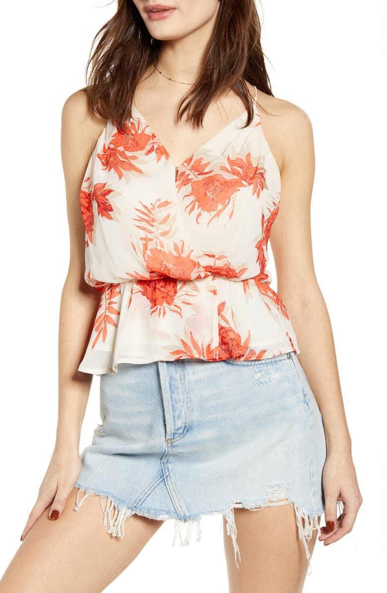 ASTR THE LABEL Strappy Back Peplum Camisole, Main, color, RED/ TAUPE FLORAL