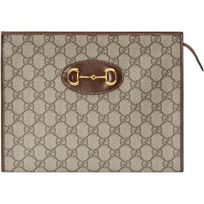 Gucci 1955 Horsebit Gg Supreme Canvas Pouch - Beige