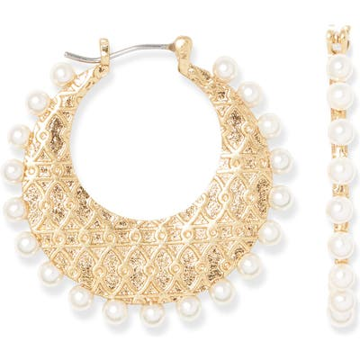 Sole Society Imitation Pearl Hoop Earrings