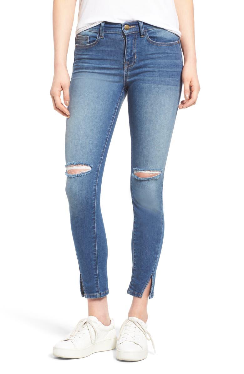 SP BLACK Slit Knee Skinny Jeans, Main, color, 400