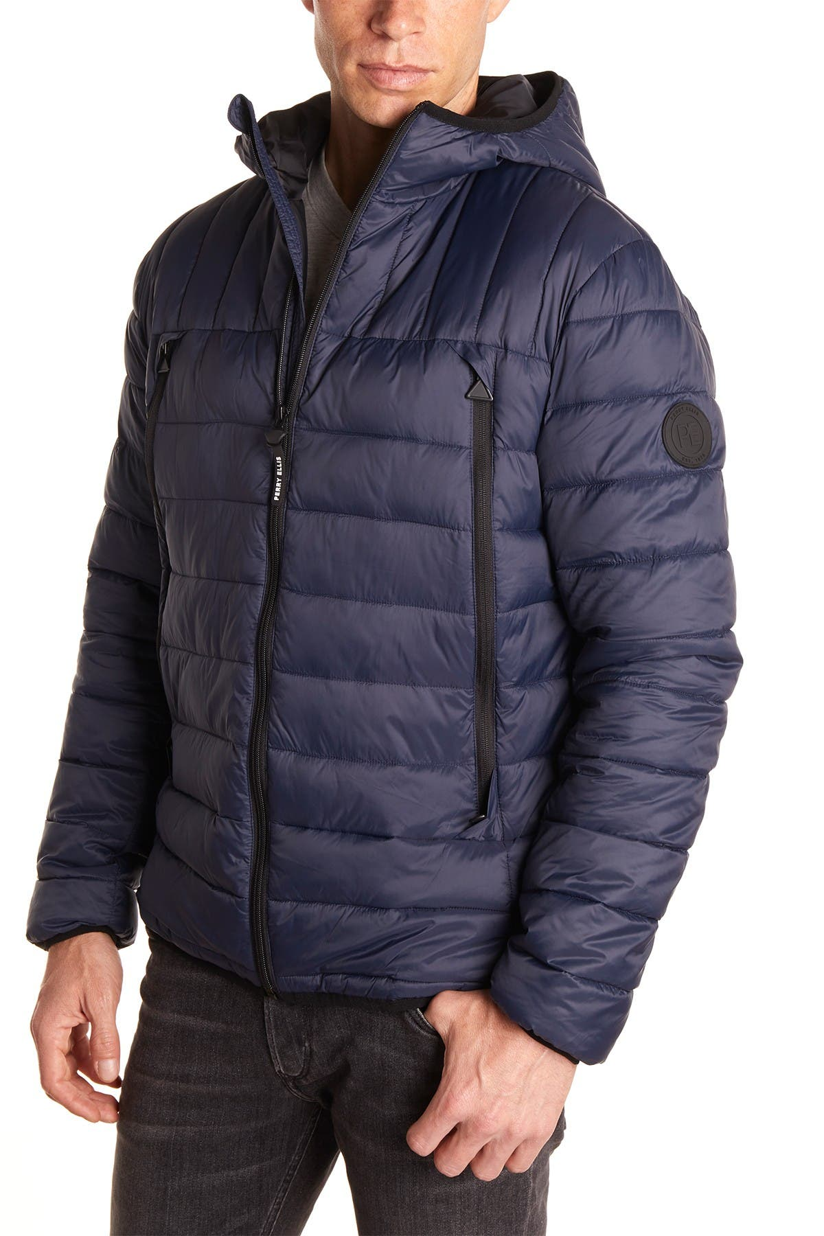 Image of Perry Ellis Nylon Packable Quilted Jacket