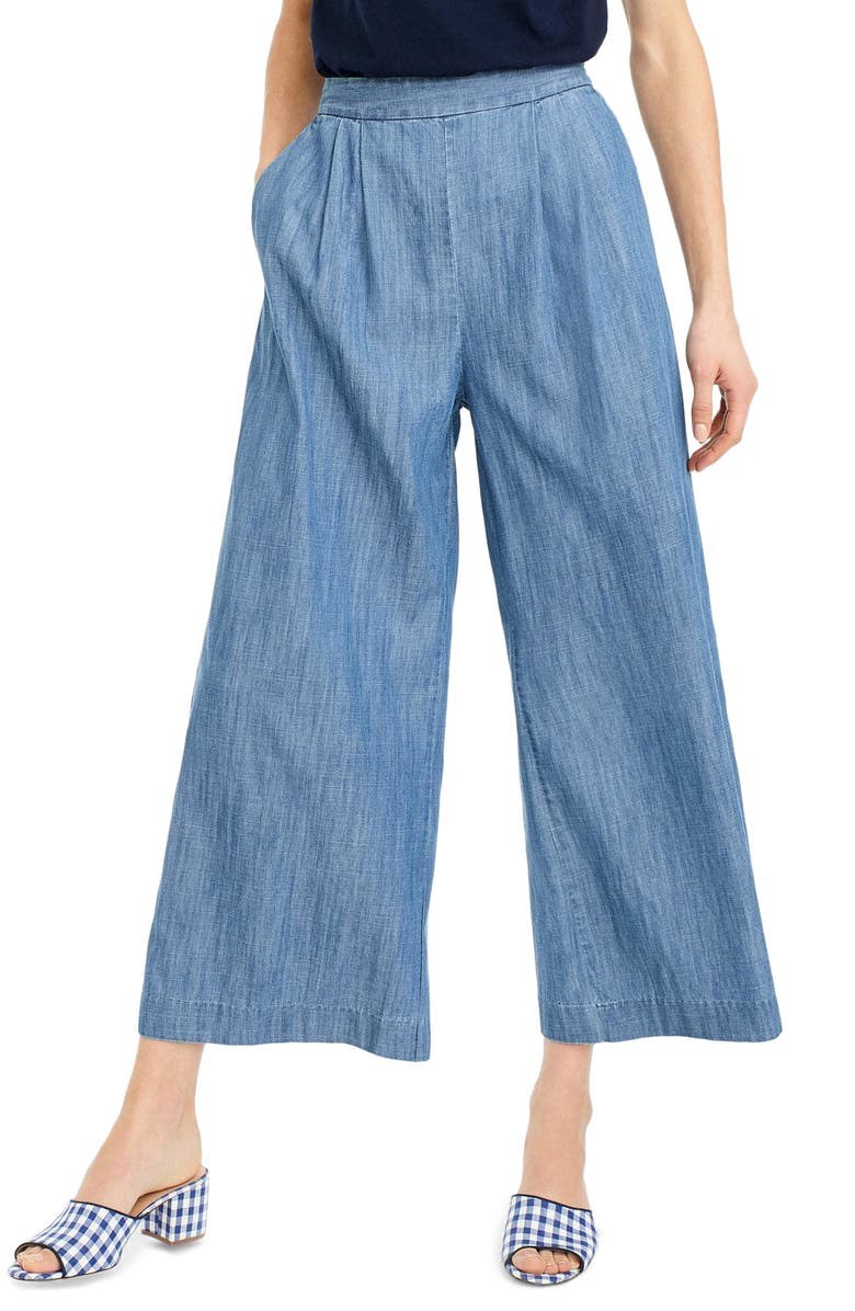 J.CREW Wide Leg Crop Chambray Pants, Main, color, 400