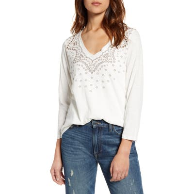 Lucky Brand Embroidered Three-Quarter Sleeve Tee, White