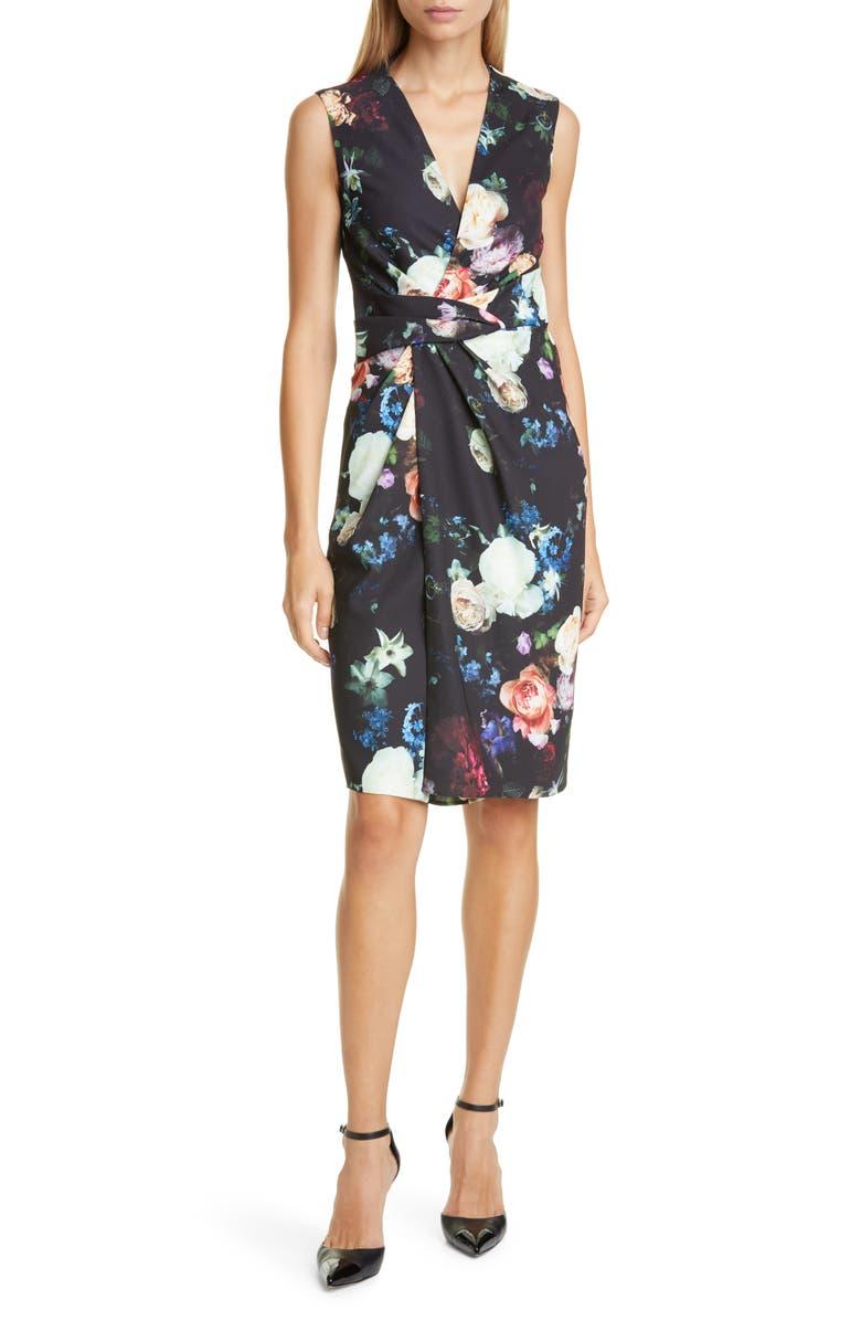 ADAM LIPPES Drape Waist Floral Print Faux Wrap Sheath Dress, Main, color, 001