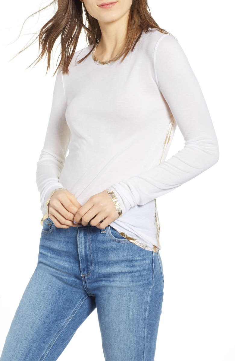 ZADIG & VOLTAIRE Willy Gold Foil Tee, Main, color, 100