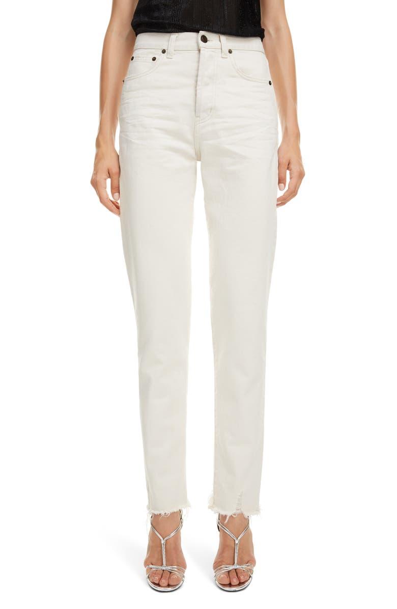 SAINT LAURENT High Waist Slim Jeans, Main, color, SANDY WHITE