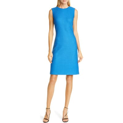 St. John Collection Honeycomb Knit Sheath Dress, Blue