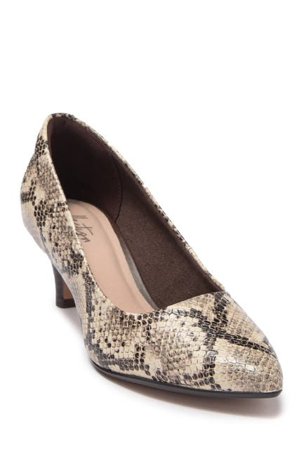 Image of Clarks Linvale Jerica Snakeskin Embossed Pump - Wide Width Available