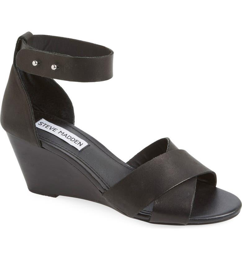 STEVE MADDEN 'Nilla' Wedge Sandal, Main, color, 001
