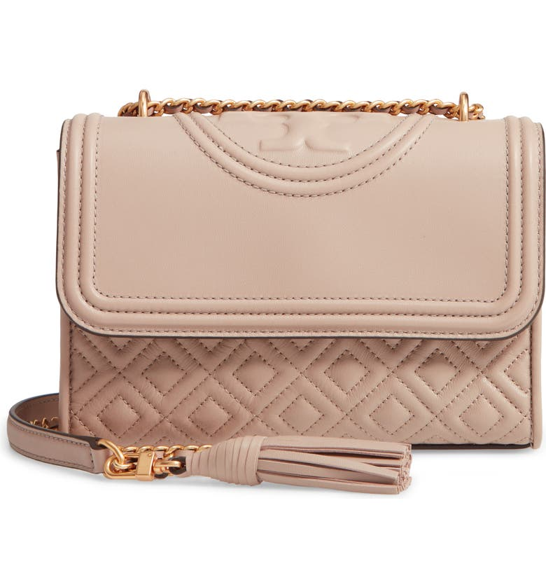 TORY BURCH Small Fleming Quilted Lambskin Leather Convertible Shoulder Bag, Main, color, 020