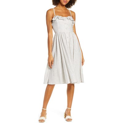 French Connection Laiche Stripe Ruffle Fit & Flare Sundress, White