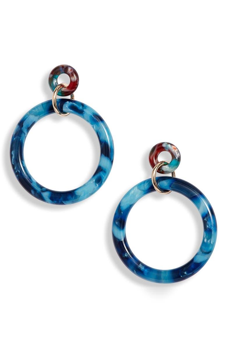 LELE SADOUGHI Circle Hoop Earrings, Main, color, TEAL