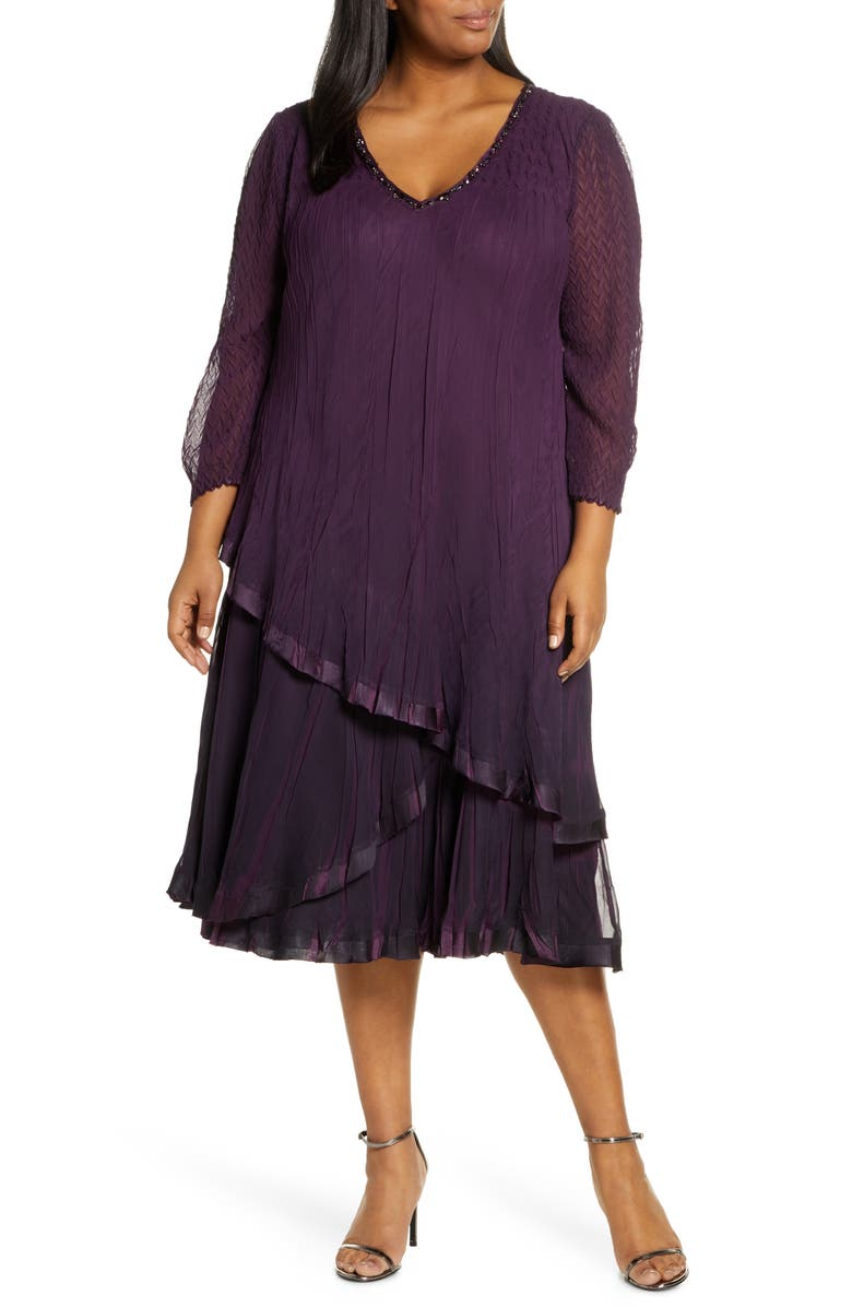 KOMAROV Chiffon Overlay Cocktail Dress, Main, color, AUBERGINE