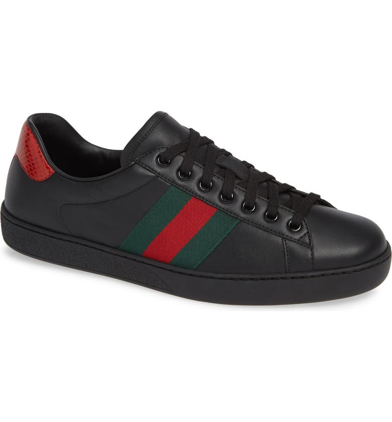GUCCI New Ace Clean Web Stripe Sneaker, Main, color, BLACK/ RED