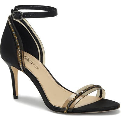 Imagine By Vince Camuto Phillipa Crystal Embellished Clear Sandal, Black
