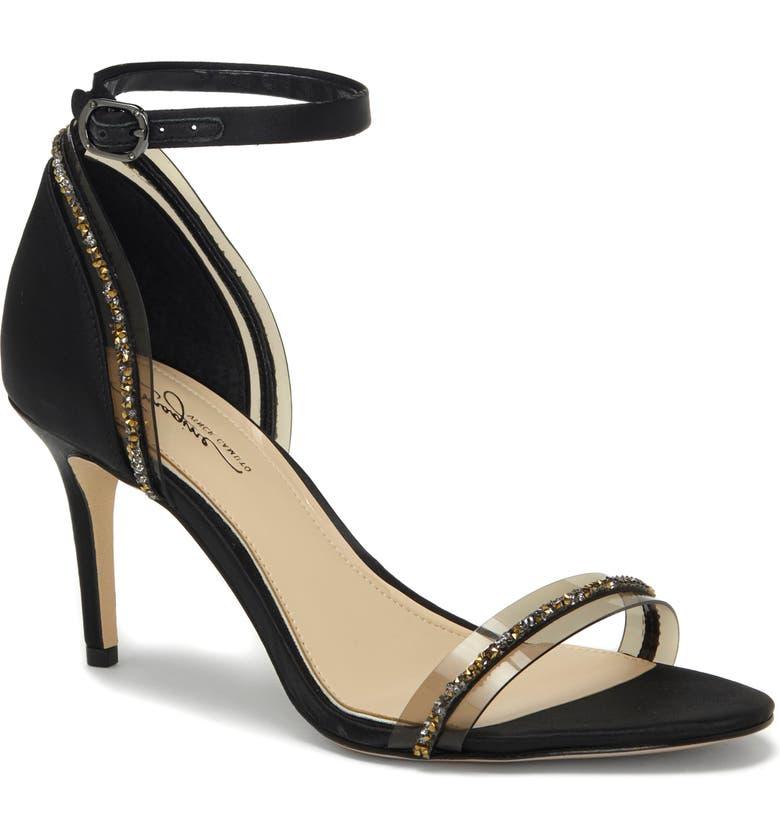 IMAGINE BY VINCE CAMUTO Phillipa Crystal Embellished Clear Sandal, Main, color, BLACK SATIN