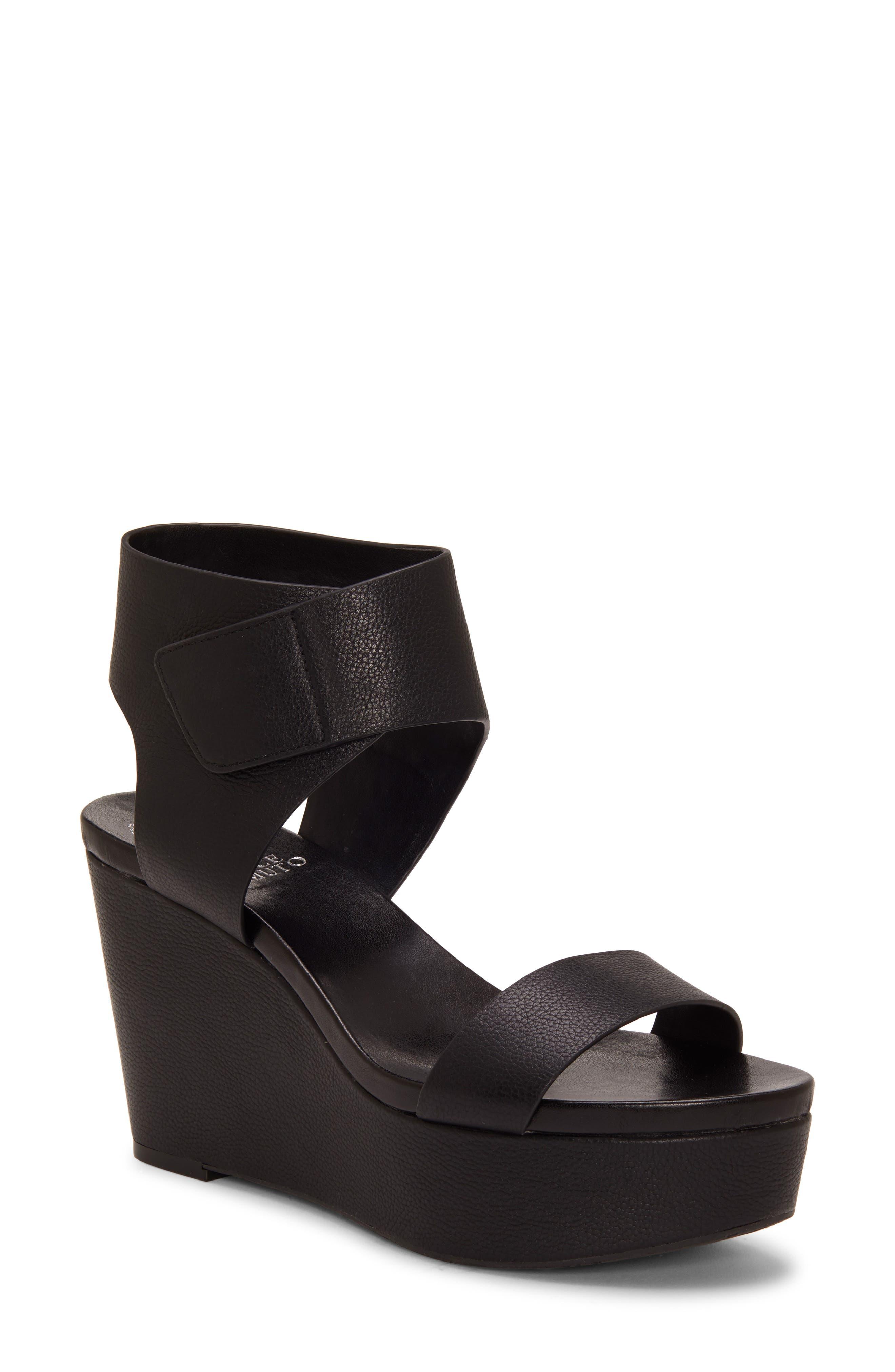Vince Camuto Velista Platform Wedge Sandal- Black