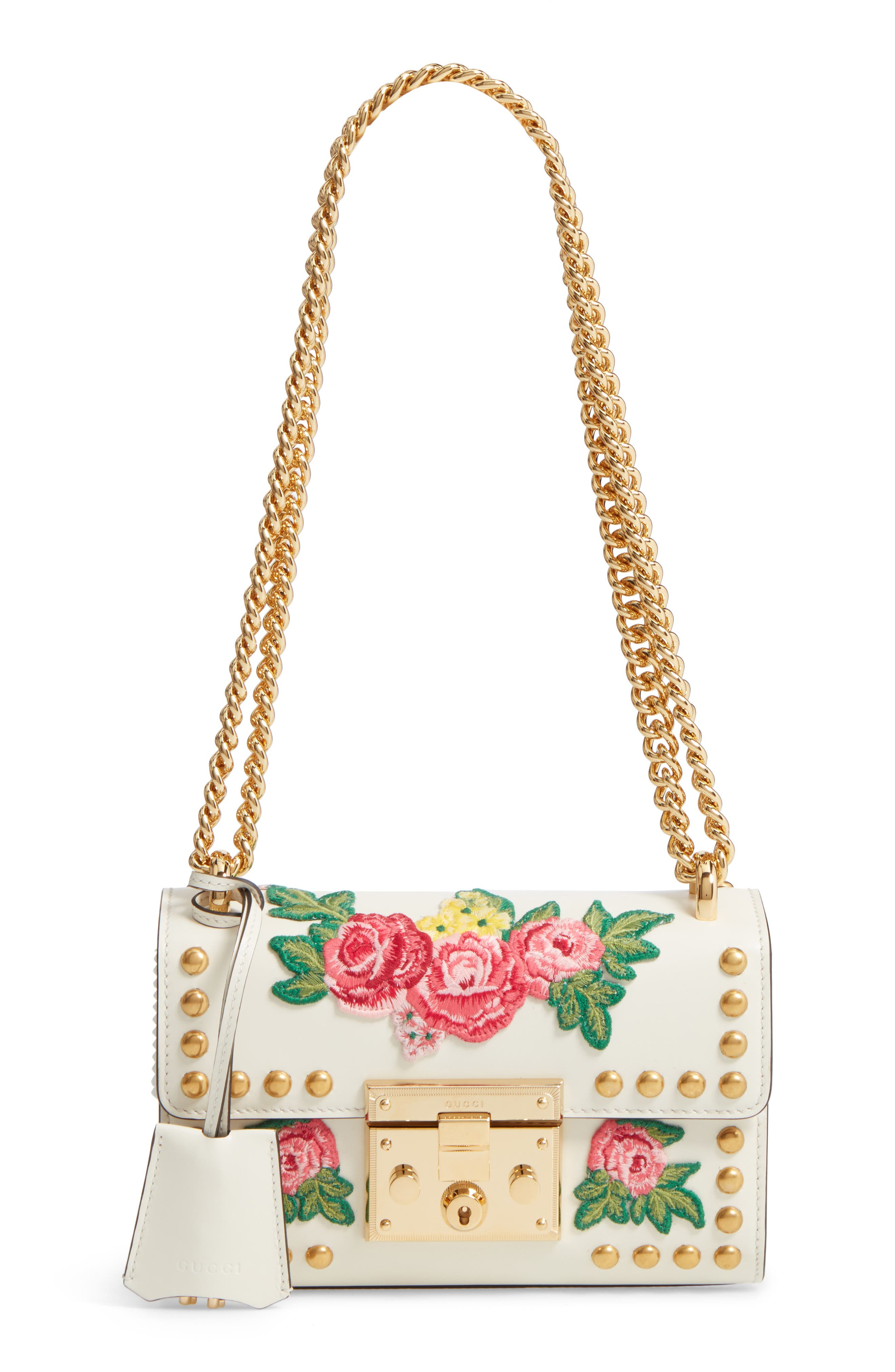 ,                             Small Padlock Embroidered Leather Shoulder Bag,                             Main thumbnail 1, color,                             101