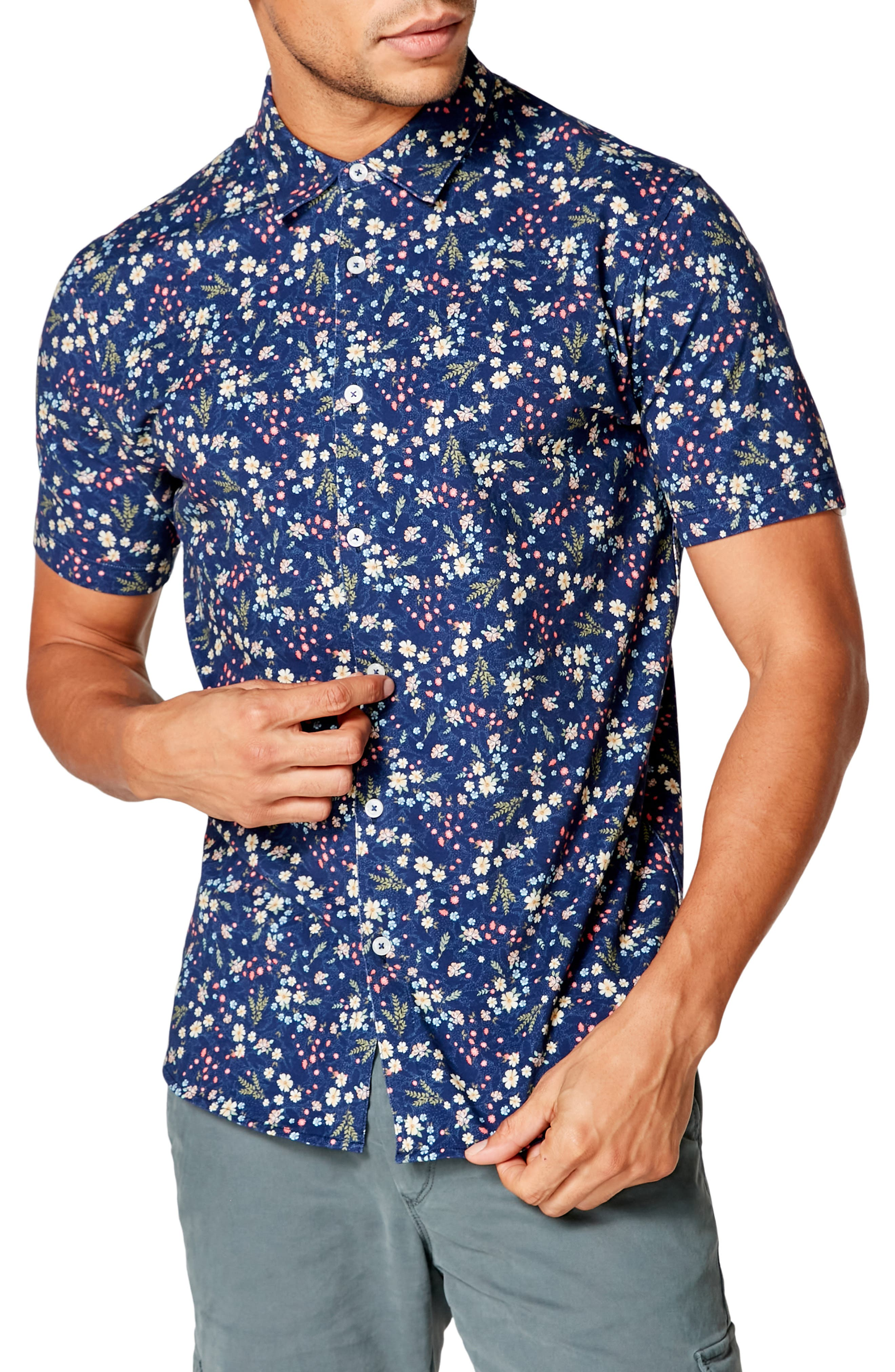 A slim-fitting short-sleeve shirt sporting a lively print is cut in a length that easily goes tucked or untucked. Style Name: Good Man Brand Flex Pro Slim Fit Print Short Sleeve Button-Up Shirt. Style Number: 5979742 2. Available in stores.