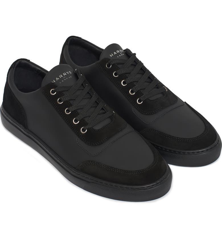 HARRYS OF LONDON Nimble Tech Sneaker, Main, color, BLACK LEATHER/SUEDE