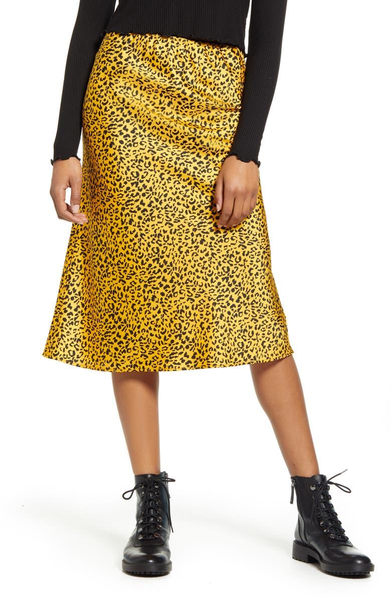 LA LA LAND CREATIVE CO Satin Midi Skirt, Main, color, MUSTARD BLACK