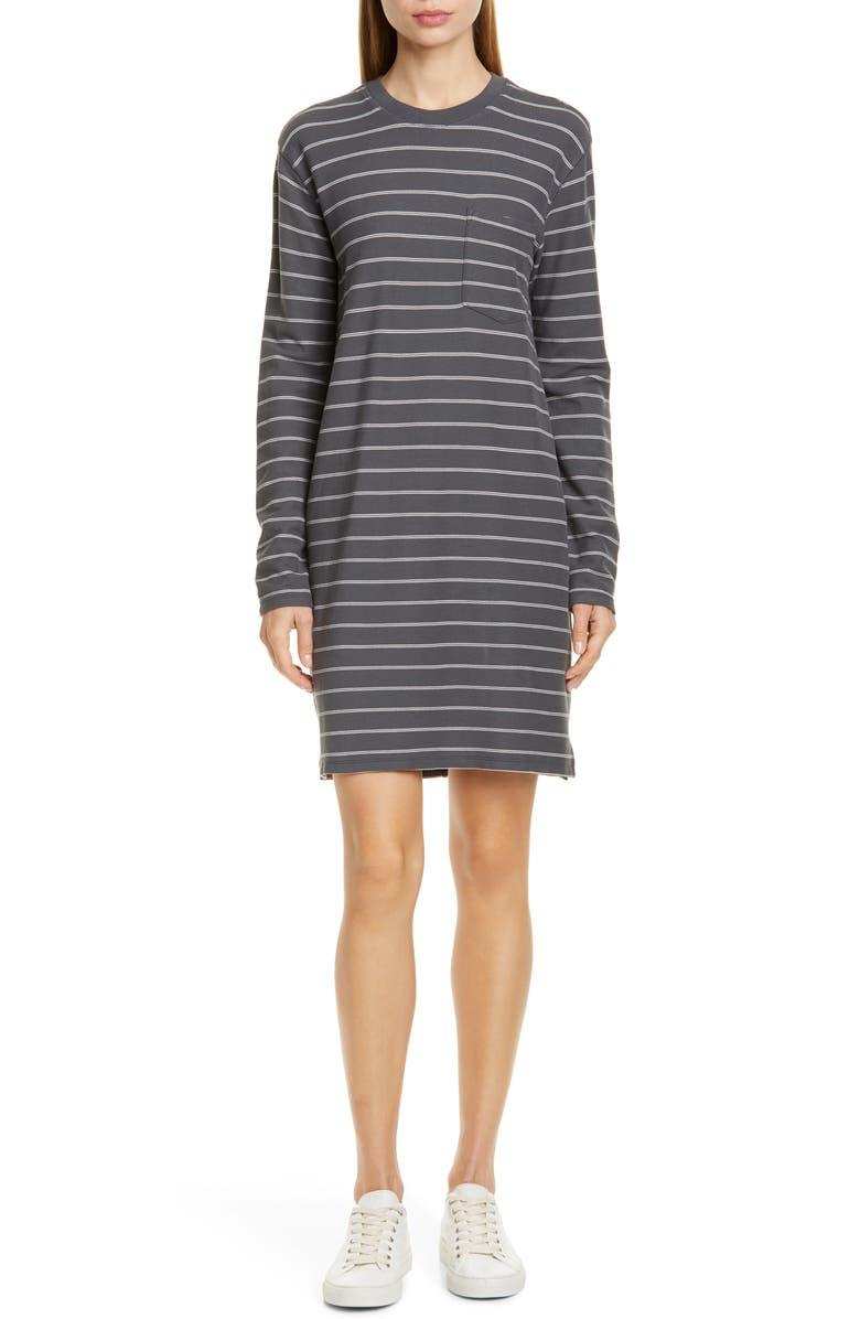 ATM ANTHONY THOMAS MELILLO Stripe Long Sleeve T-Shirt Dress, Main, color, ASPHALT/ STONE STRIPE