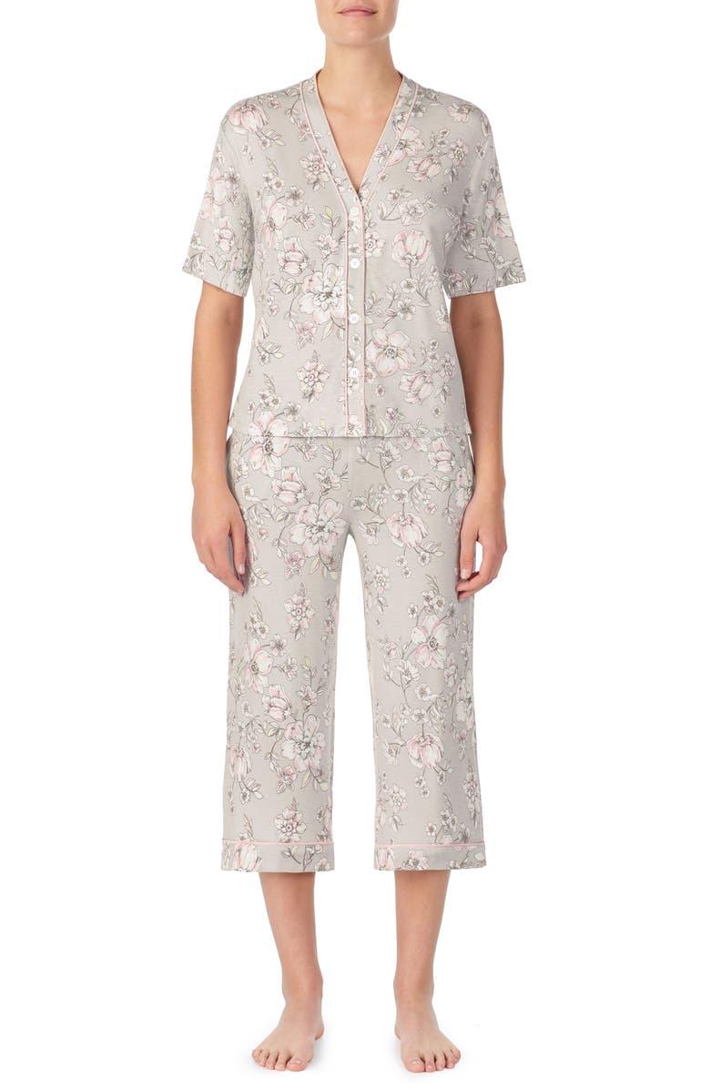 ROOM SERVICE Crop Pajamas, Main, color, NEUTRAL FLORAL