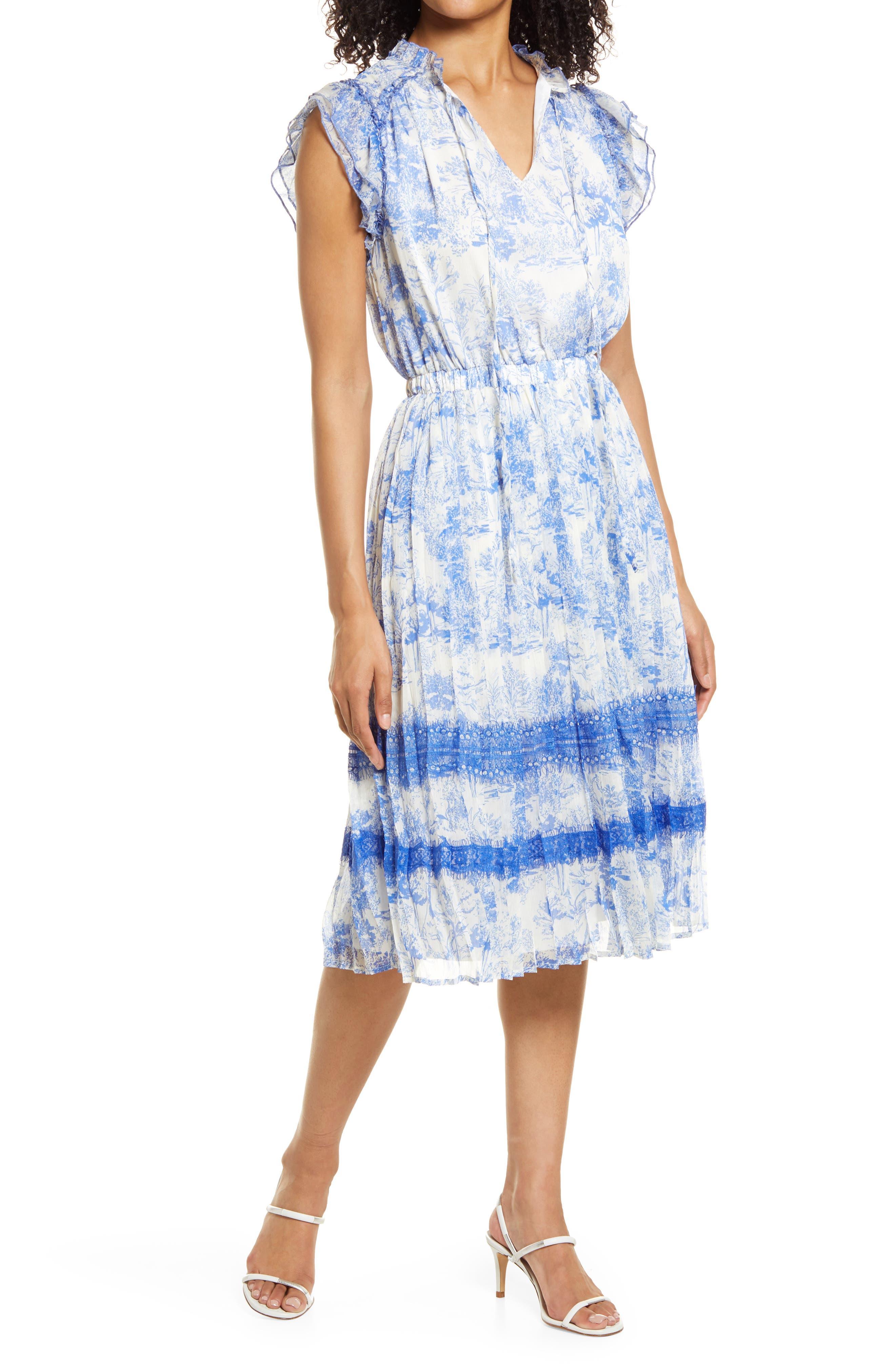Toile Print Lace Detail Chiffon Midi Dress