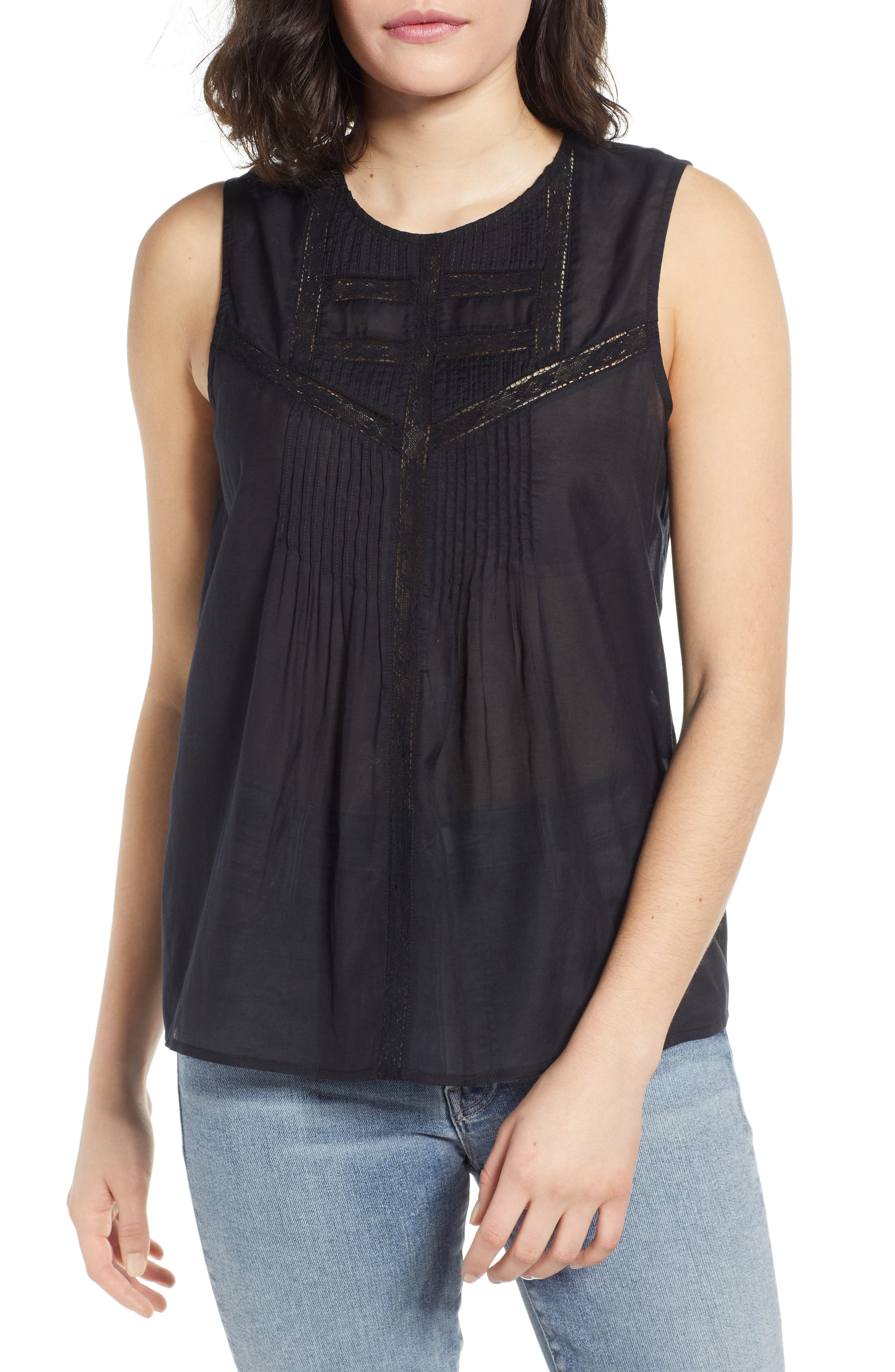 Lace Inset Sleeveless Top, Main, color, BLACK