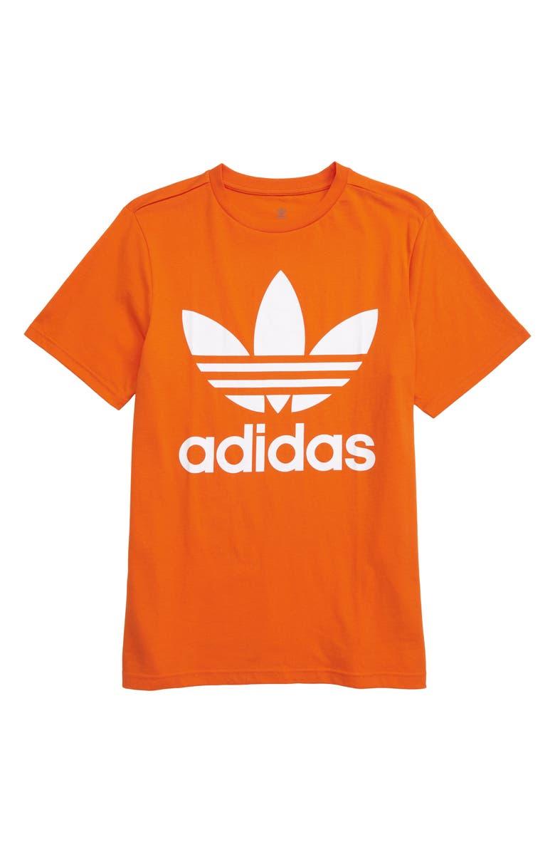 ADIDAS ORIGINALS Trefoil Graphic T-Shirt, Main, color, ORANGE/ WHITE