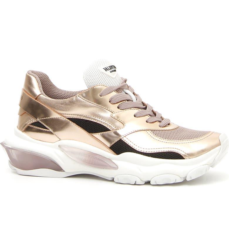 VALENTINO GARAVANI Bounce Low Top Sneaker, Main, color, GOLD/ POUDRE